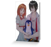 Character Drawing couple penguin Greeting Card