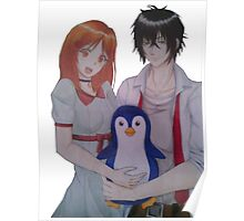 Character Drawing couple penguin Poster