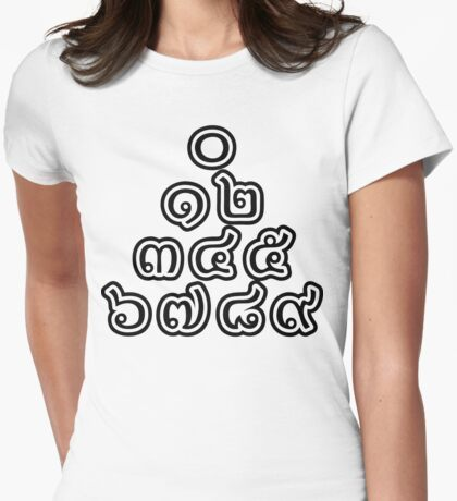 Thai Numbers Pyramid - 0 12 345 6789 Thai Script Womens Fitted T-Shirt