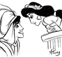 Aladdin and Jasmine Sketch by APParky