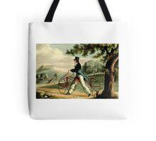men on walking bicycles in park Tote Bag