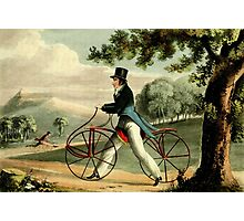 men on walking bicycles in park Photographic Print