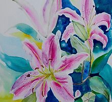Still life Lilies in watercolor by GeetaBiswas