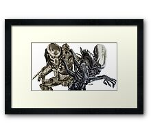 Alien and Predator - Ink Framed Print