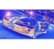 Blue-Neon-Nights-Car-Justin Beck-picture-2015106 Photographic Print
