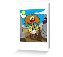 """Rick the Chick """"NEANDERTHAL CHICK"""" Greeting Card"""