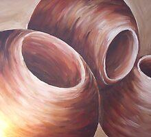 Bronzed globes by Stephanie Gray