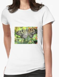 Yellow and black-spotted Butterfly Womens Fitted T-Shirt