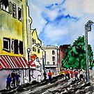 cityscape illustration childrens book scene by derekmccrea