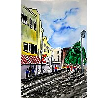cityscape illustration childrens book scene Photographic Print