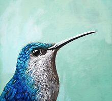 Spring is Humming - Hummingbird realistic painting by LindaAppleArt