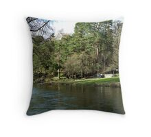 Sunday Strollers by the River Tweed in Peebles Throw Pillow