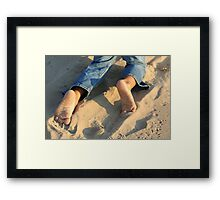 bare foot beach Framed Print