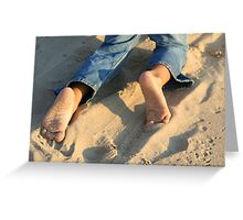 bare foot beach Greeting Card