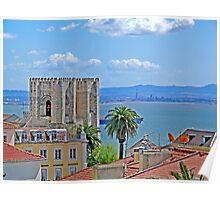 Sé de Lisboa. (Cathedral). Tejo river. Poster