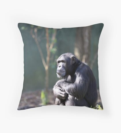 Chimpanzee -  Lost in Thought Throw Pillow
