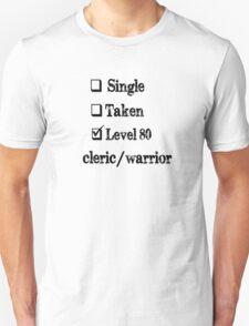 Level 80 Cleric/Warrior Unisex T-Shirt