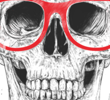 Skull with red glasses Sticker