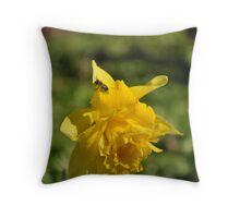Small bug on Daffodil Throw Pillow