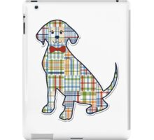 Cute Preppy Madras Patchwork Monogrammed Retriever Silhouette  iPad Case/Skin