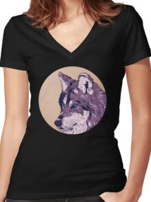 Blue eyed wolf Women's Fitted V-Neck T-Shirt