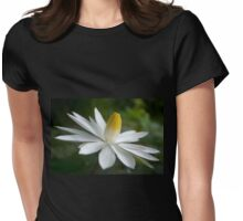 Night Bloomer ~ White Water Lily with Splayed Petals   Womens Fitted T-Shirt
