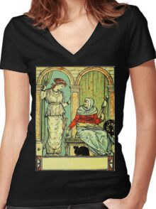 The Sleeping Beauty Picture Book Plate 001 - Long Ago In Ancient Times Women's Fitted V-Neck T-Shirt