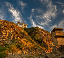 Nobby's lighthouse at sunset 2 by Andrew Murrell