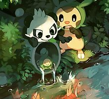 Chespin & Pancham by bluekomadori