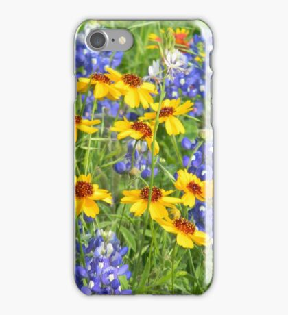 Coreopsis Among the Bluebonnets iPhone Case/Skin