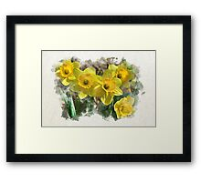 Spring Daffodils Watercolor Art Framed Print