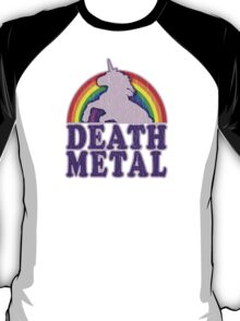 Funny Death Metal Unicorn Rainbow (vintage distressed look) T-Shirt