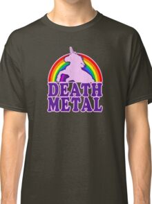 Funny Death Metal Unicorn Rainbow (vintage distressed look) Classic T-Shirt