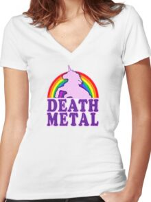 Funny Death Metal Unicorn Rainbow (vintage distressed look) Women's Fitted V-Neck T-Shirt