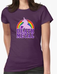 Funny Death Metal Unicorn Rainbow (vintage distressed look) Womens Fitted T-Shirt