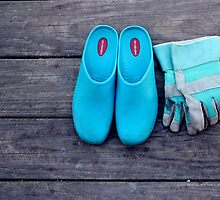 Turquoise Garden Clogs And Gloves | Center Moriches, New York by © Sophie W. Smith