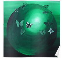Green Butterfly Sphere Poster