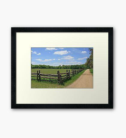 Fence and Blue Sky Framed Print
