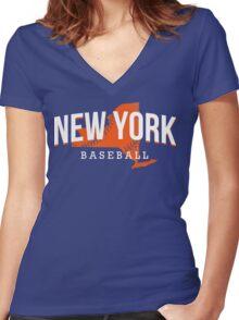 New York Baseball Women's Fitted V-Neck T-Shirt