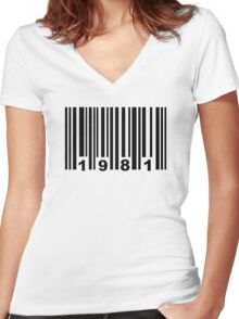 Barcode 1981 Women's Fitted V-Neck T-Shirt