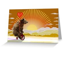 Big Bear with bicycle Greeting Card