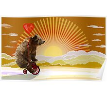 Big Bear with bicycle Poster
