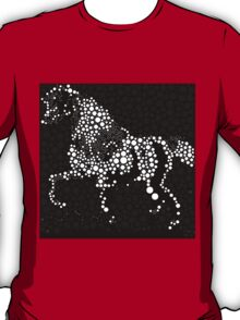 Horse Abstract Circles and Stars Black and White T-Shirt
