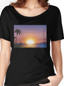Guitarist on tropical beach at sunset Women's Relaxed Fit T-Shirt
