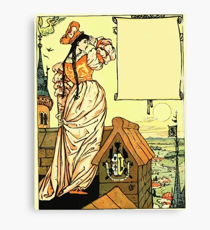 The Sleeping Beauty Picture Book Plate - Bluebeard - O Sister Anne, Go Up, Go Up, And Look Out From The Tower Canvas Print
