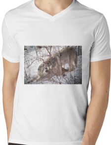 Timber Wolves Fighting Mens V-Neck T-Shirt