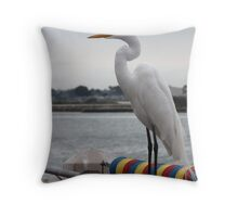 White Heron Florida Bird Throw Pillow
