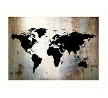 World Map Rusted Metal  Art Print