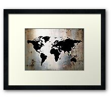 World Map Rusted Metal  Framed Print