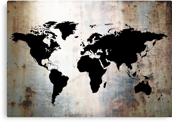 World Map Rusted Metal  by Roz Abellera Art Gallery